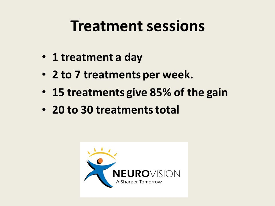 Treatment sessions 1 treatment a day 2 to 7 treatments per week.