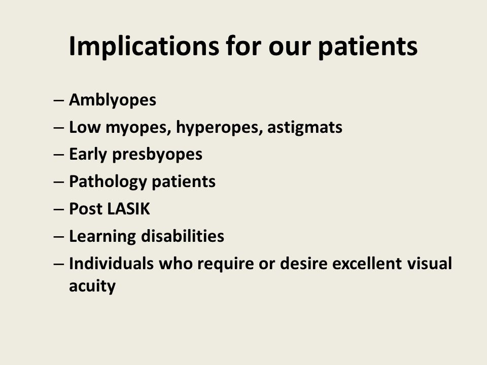 Implications for our patients