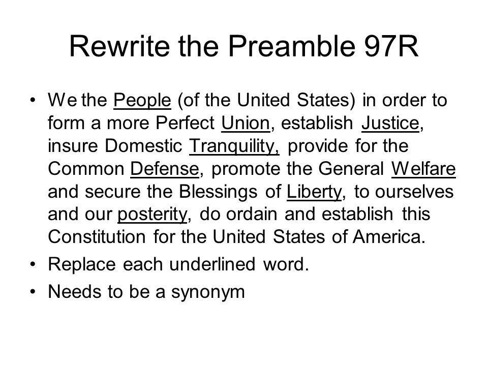 Rewrite the Preamble 97R