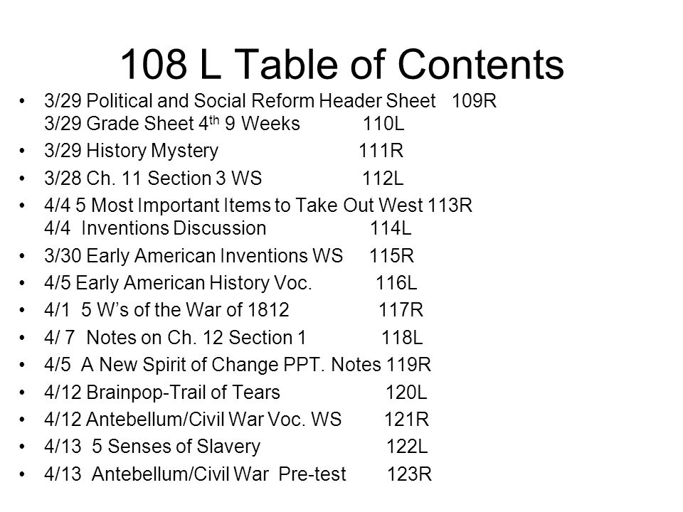 108 L Table of Contents