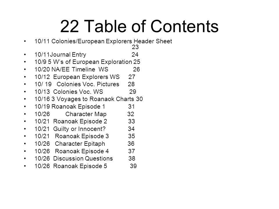 22 Table of Contents 10/11 Colonies/European Explorers Header Sheet 23