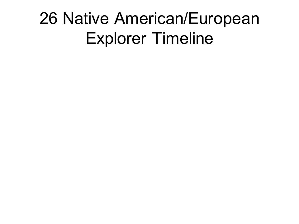 26 Native American/European Explorer Timeline
