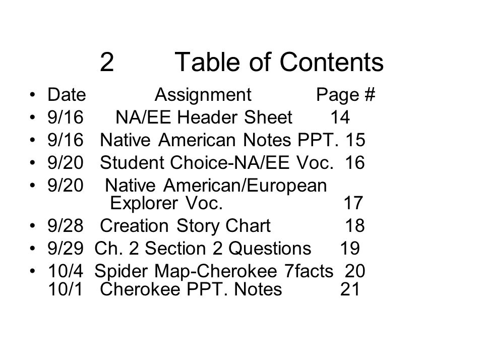 2 Table of Contents Date Assignment Page # 9/16 NA/EE Header Sheet 14
