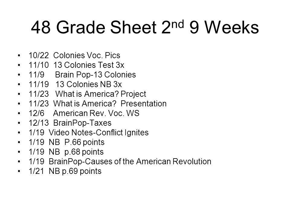48 Grade Sheet 2nd 9 Weeks 10/22 Colonies Voc. Pics