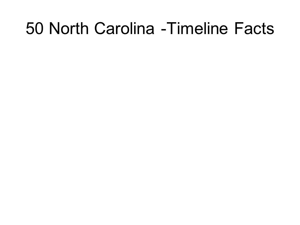 50 North Carolina -Timeline Facts