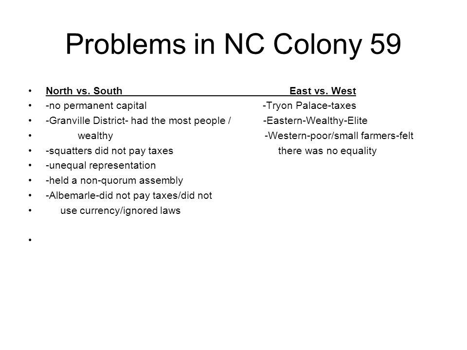 Problems in NC Colony 59 North vs. South East vs. West