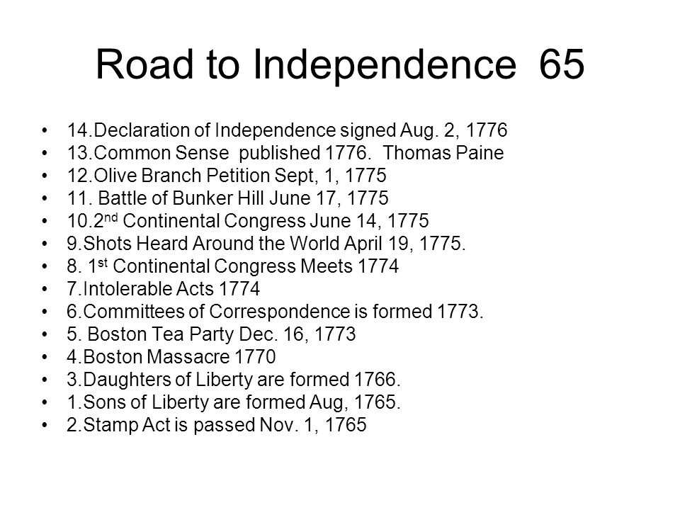 Road to Independence 65 14.Declaration of Independence signed Aug. 2, 1776. 13.Common Sense published 1776. Thomas Paine.