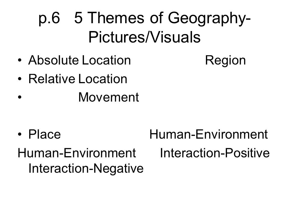 p.6 5 Themes of Geography- Pictures/Visuals