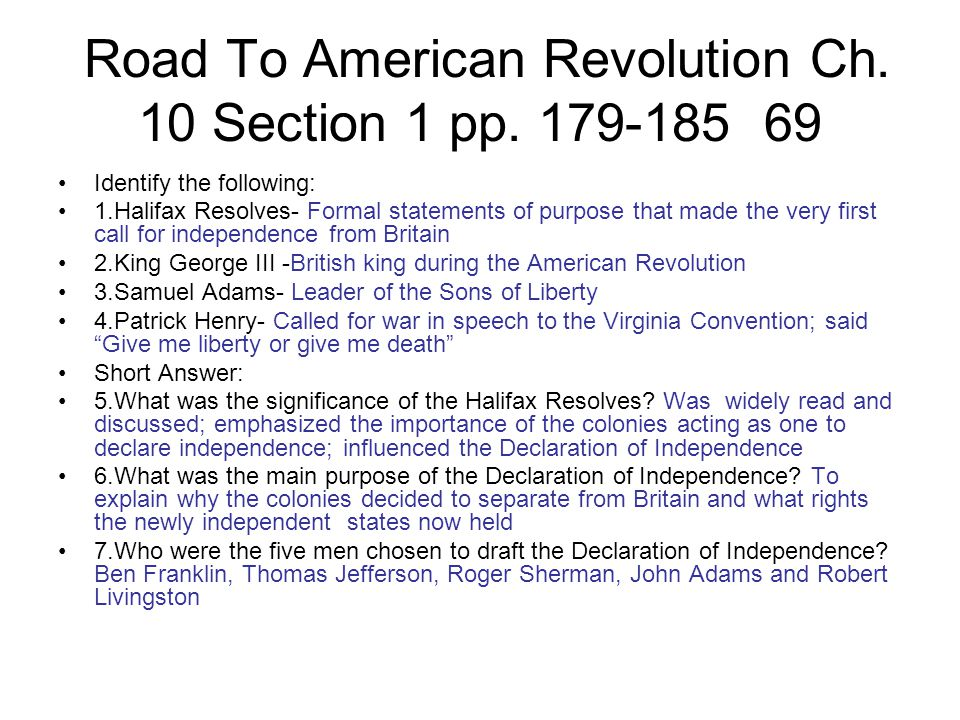 Road To American Revolution Ch. 10 Section 1 pp. 179-185 69