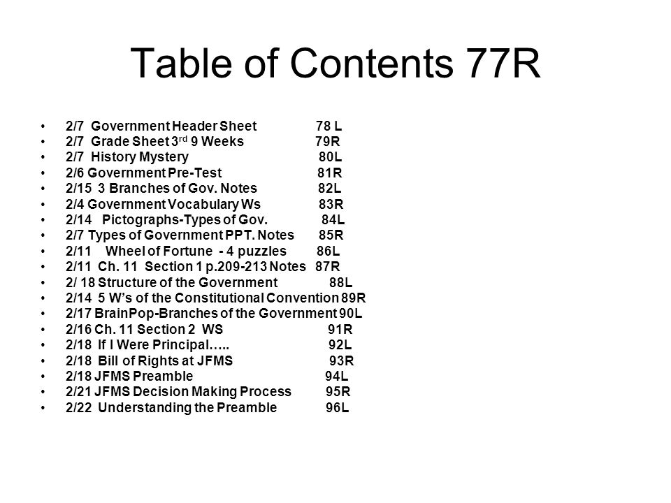 Table of Contents 77R 2/7 Government Header Sheet 78 L
