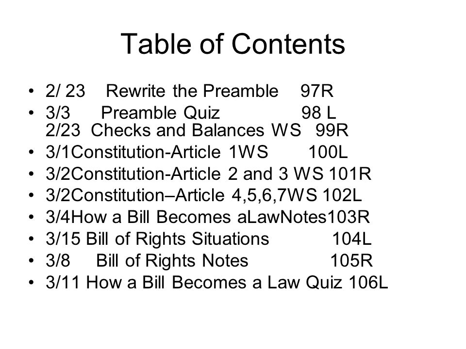 Table of Contents 2/ 23 Rewrite the Preamble 97R