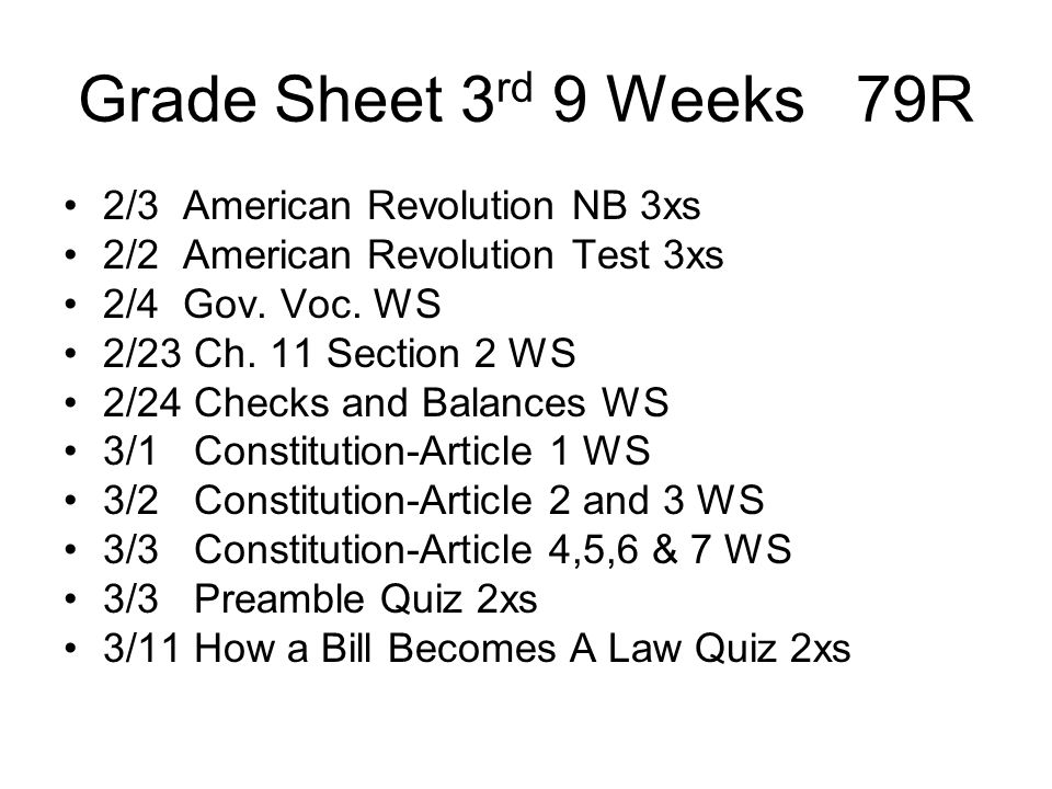 Grade Sheet 3rd 9 Weeks 79R 2/3 American Revolution NB 3xs