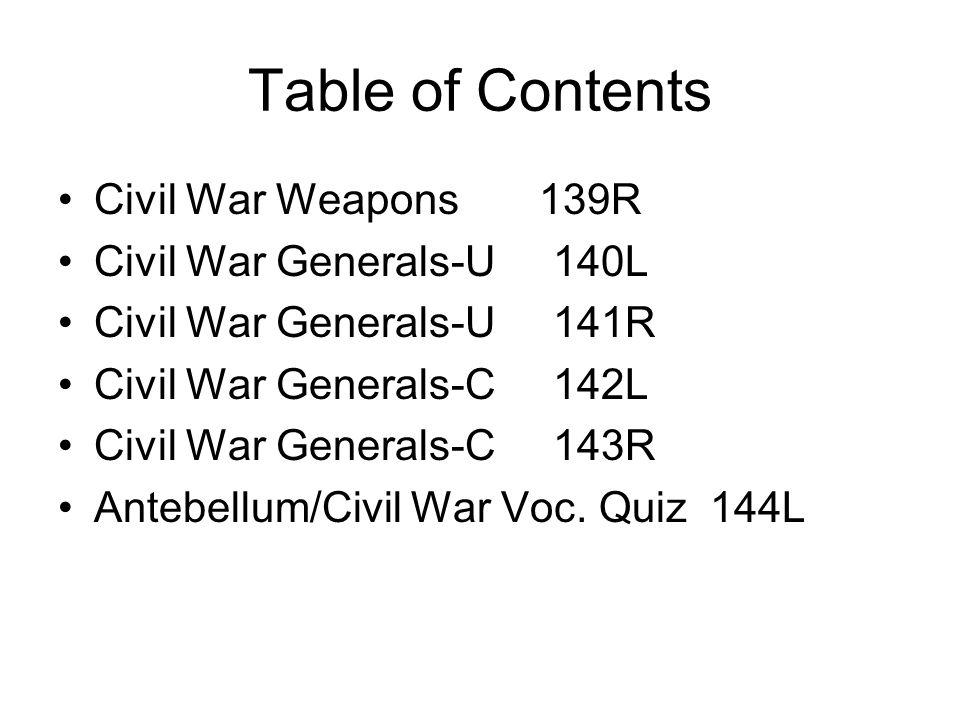Table of Contents Civil War Weapons 139R Civil War Generals-U 140L