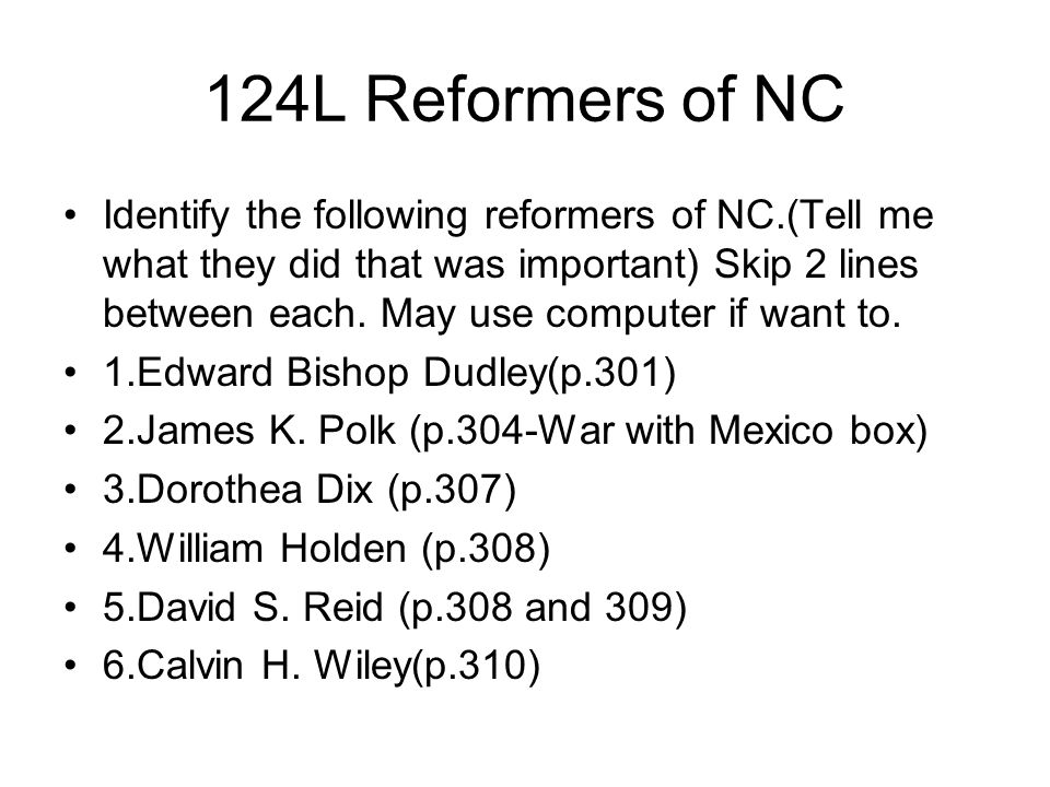 124L Reformers of NC