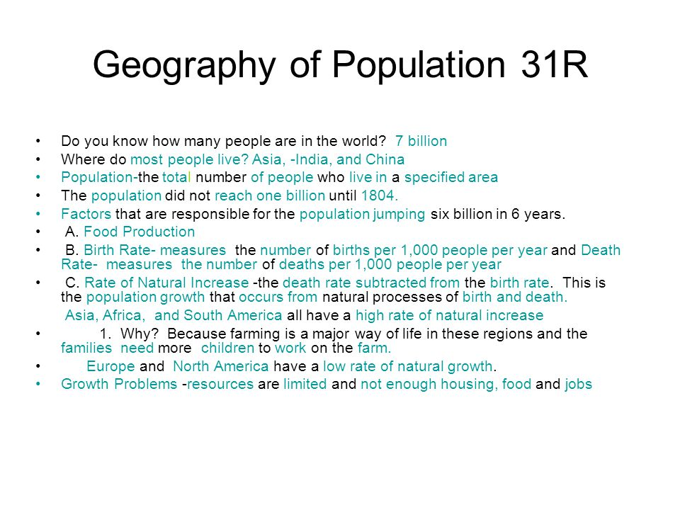 Geography of Population 31R