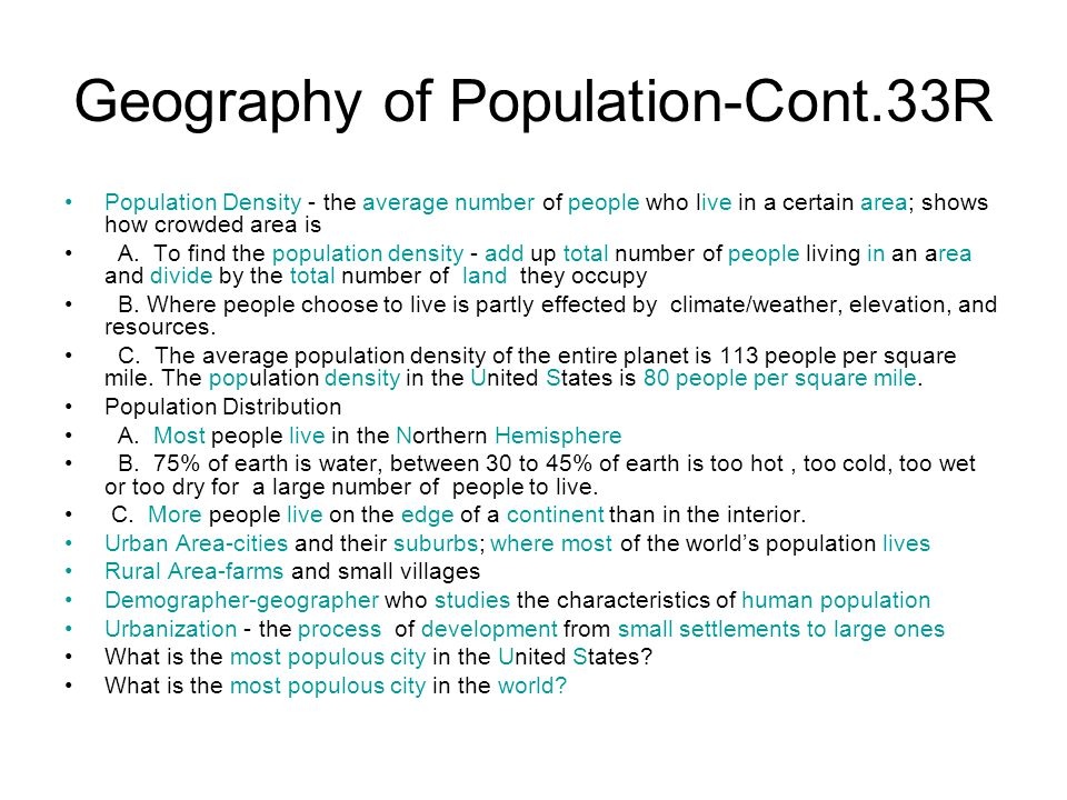 Geography of Population-Cont.33R