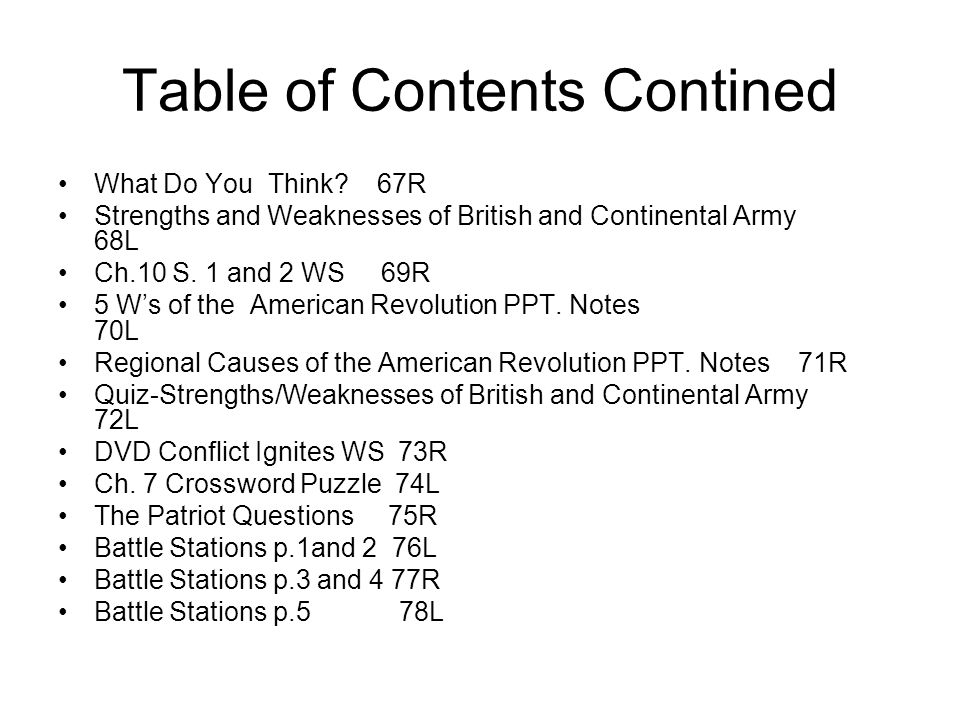 Table of Contents Contined