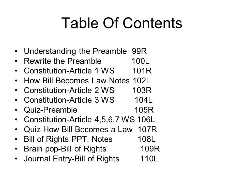 Table Of Contents Understanding the Preamble 99R