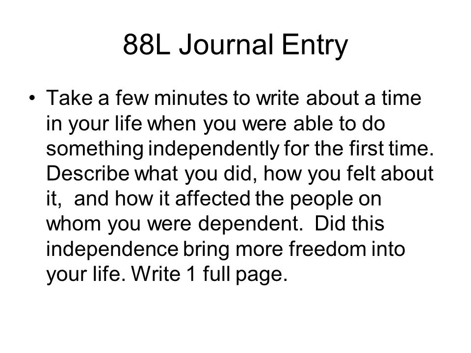 88L Journal Entry