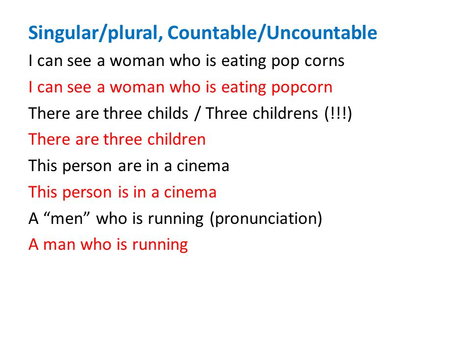 Singular/plural, Countable/Uncountable