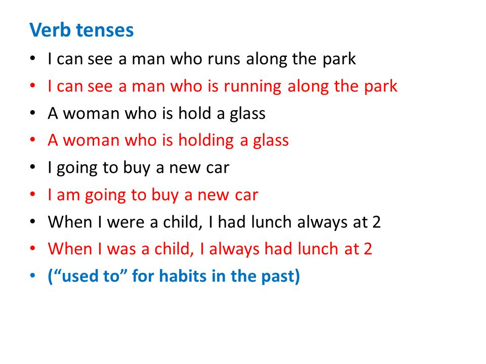 Verb tenses I can see a man who runs along the park