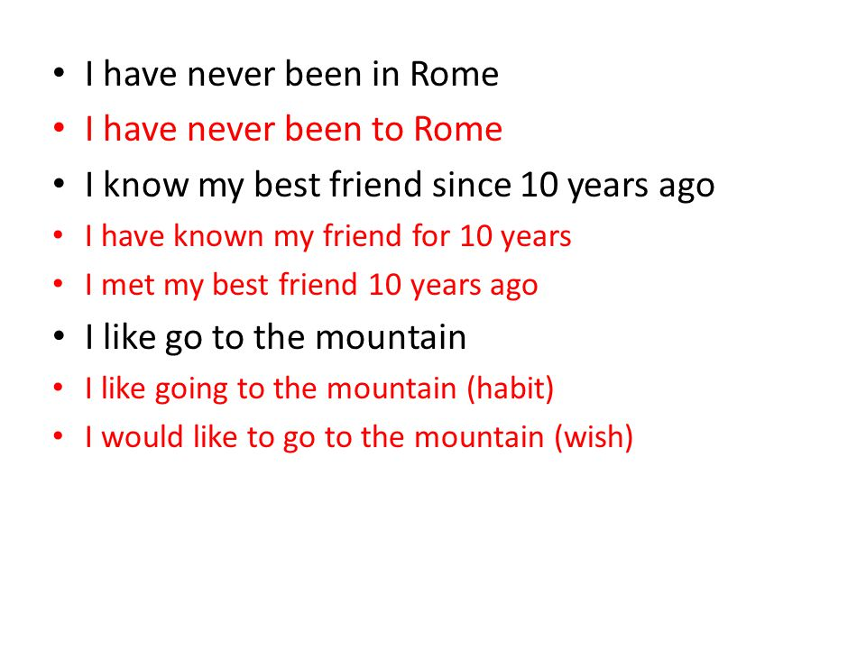 I have never been in Rome I have never been to Rome
