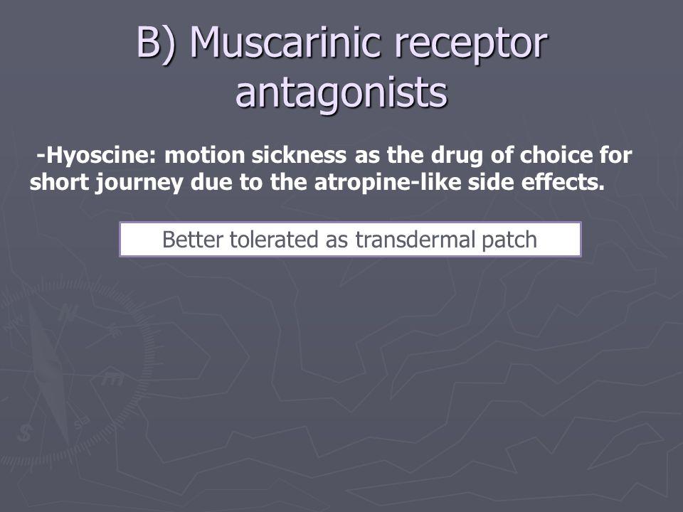 B) Muscarinic receptor antagonists