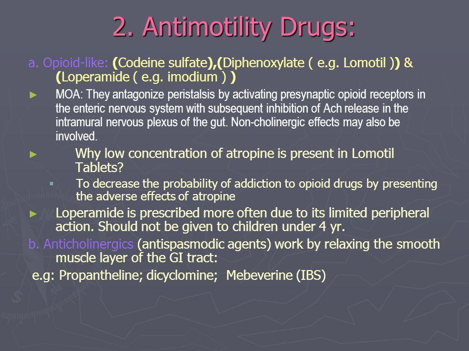 2. Antimotility Drugs: a. Opioid-like: (Codeine sulfate),(Diphenoxylate ( e.g. Lomotil )) & (Loperamide ( e.g. imodium ) )