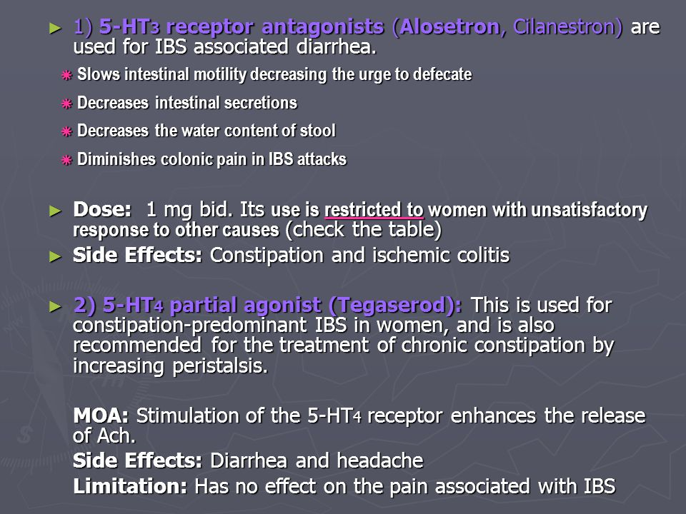 Side Effects: Constipation and ischemic colitis