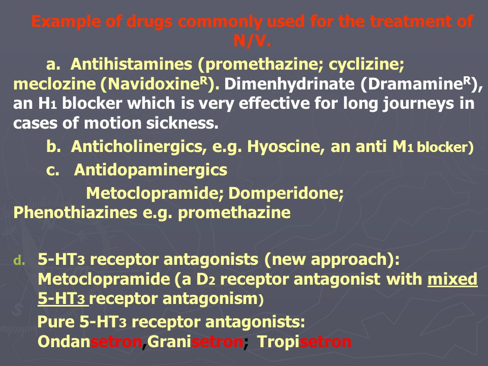 Example of drugs commonly used for the treatment of N/V.