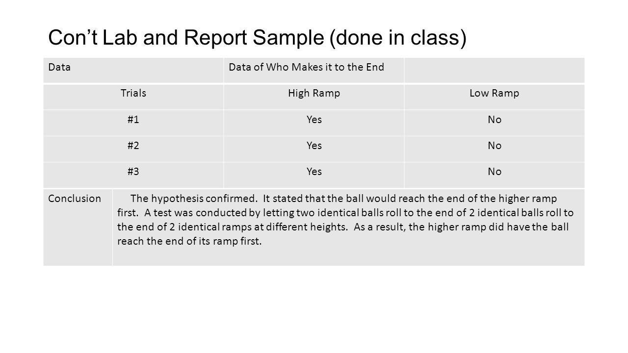 Con't Lab and Report Sample (done in class)
