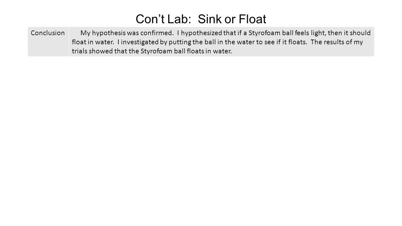 Con't Lab: Sink or Float
