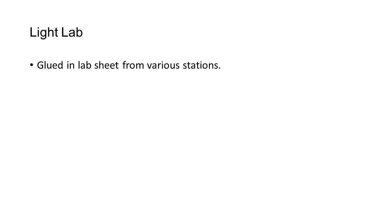 Light Lab Glued in lab sheet from various stations.