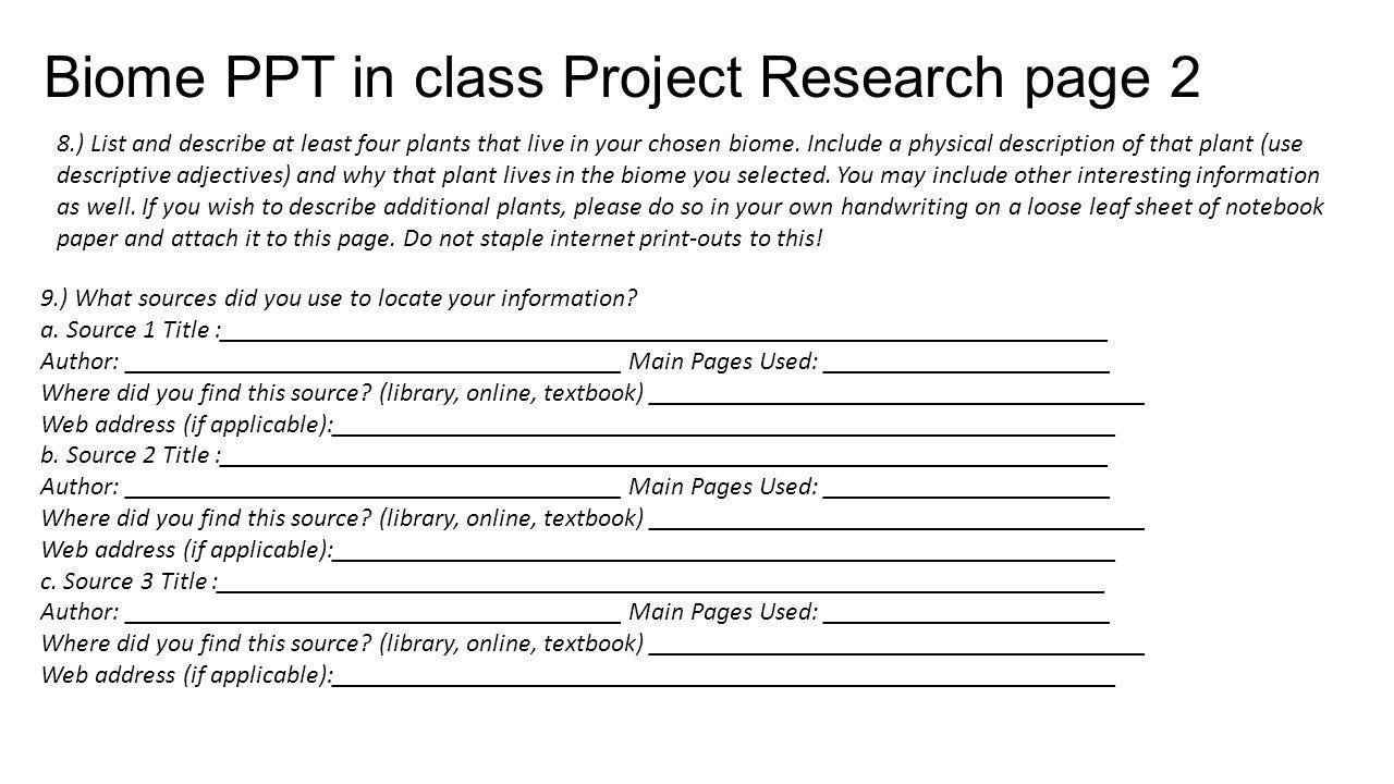 Biome PPT in class Project Research page 2