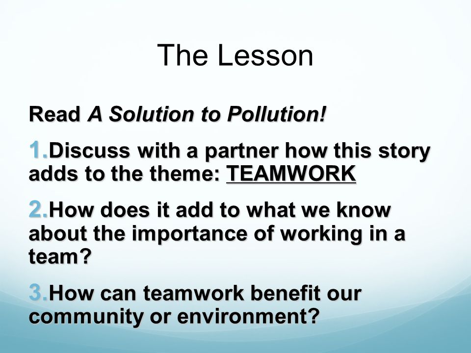 The Lesson Read A Solution to Pollution!