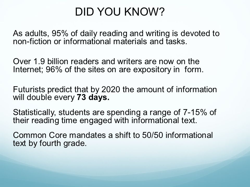DID YOU KNOW As adults, 95% of daily reading and writing is devoted to non-fiction or informational materials and tasks.