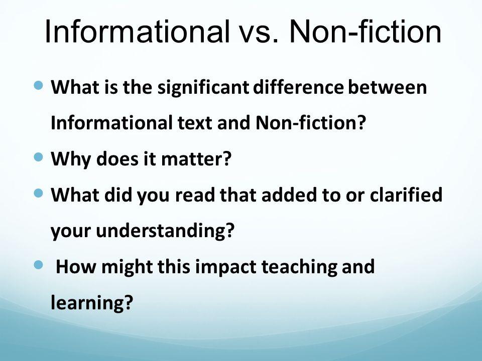 Informational vs. Non-fiction