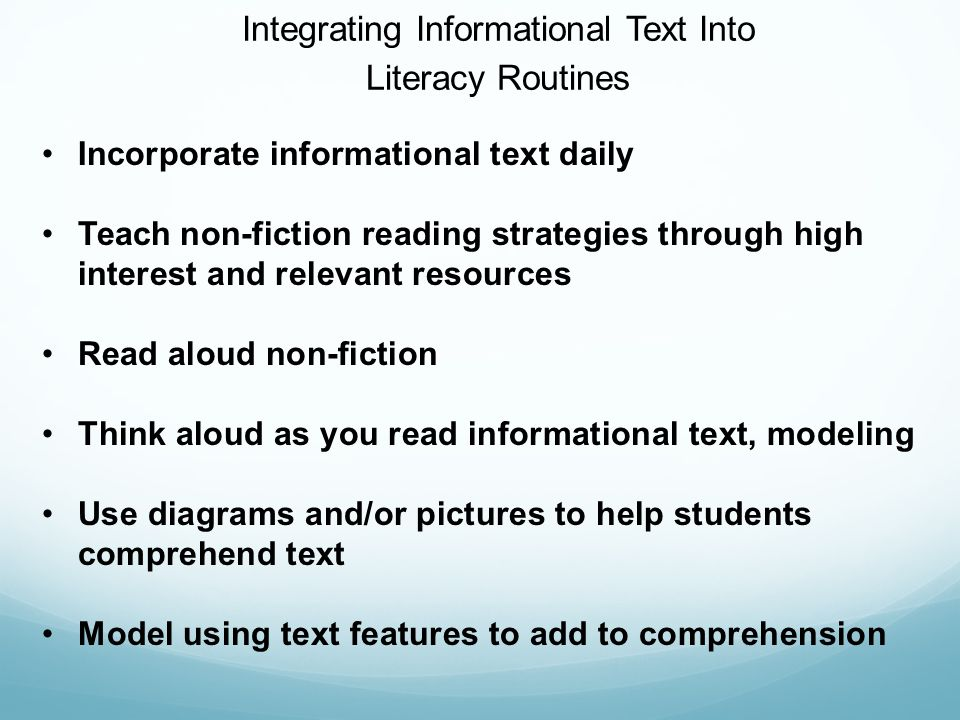 Integrating Informational Text Into
