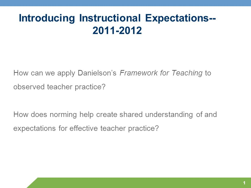 Introducing Instructional Expectations-- 2011-2012