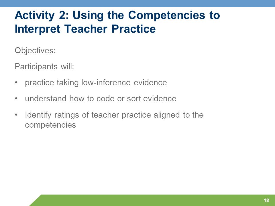 Activity 2: Using the Competencies to Interpret Teacher Practice