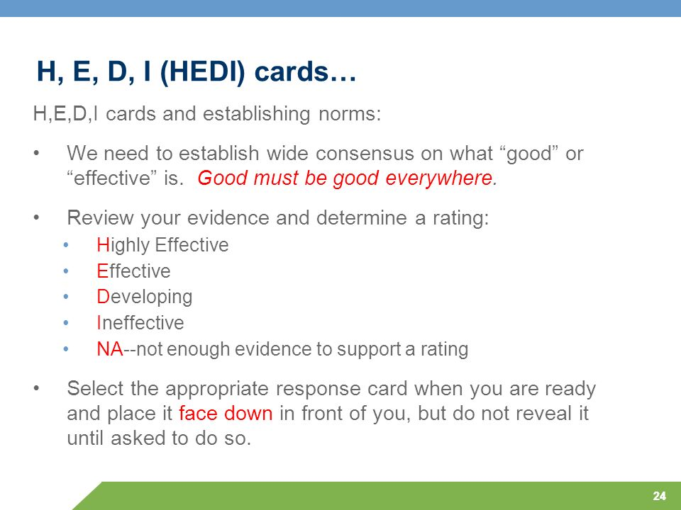 H, E, D, I (HEDI) cards… H,E,D,I cards and establishing norms: