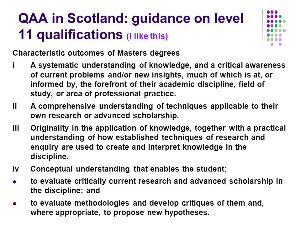QAA in Scotland: guidance on level 11 qualifications (I like this)