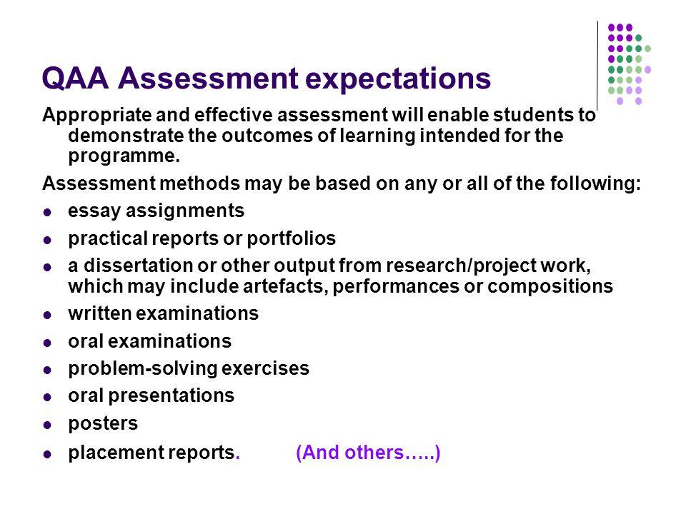 QAA Assessment expectations