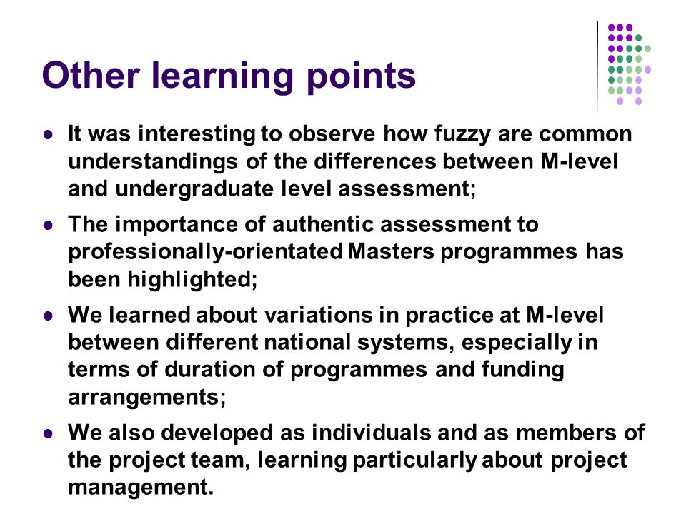 Other learning points