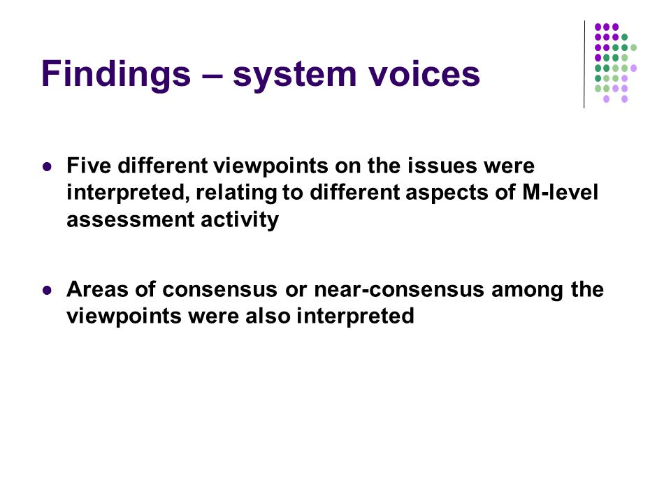 Findings – system voices