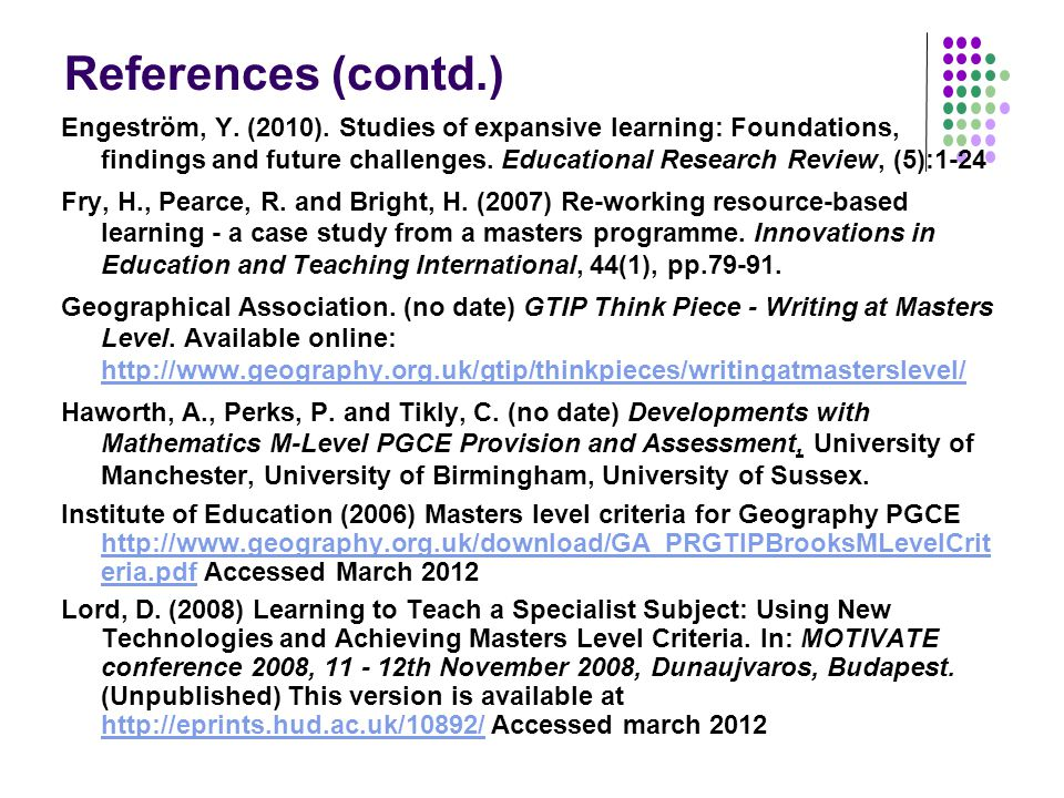 References (contd.)