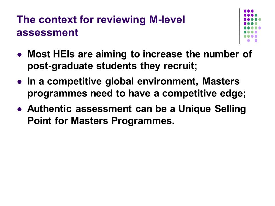 The context for reviewing M-level assessment