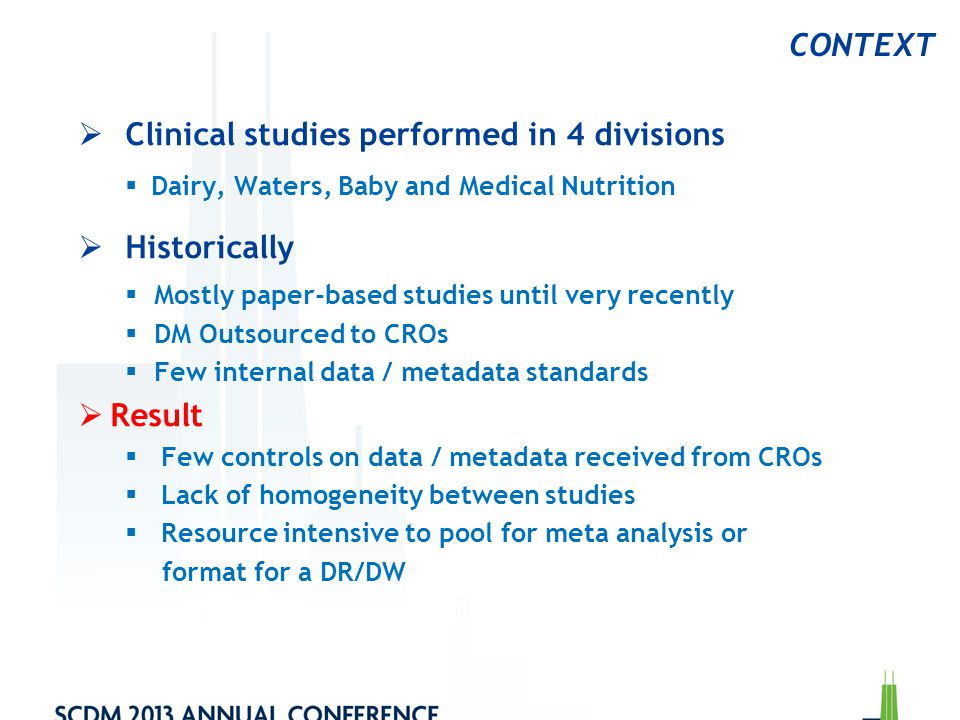 Clinical studies performed in 4 divisions Historically