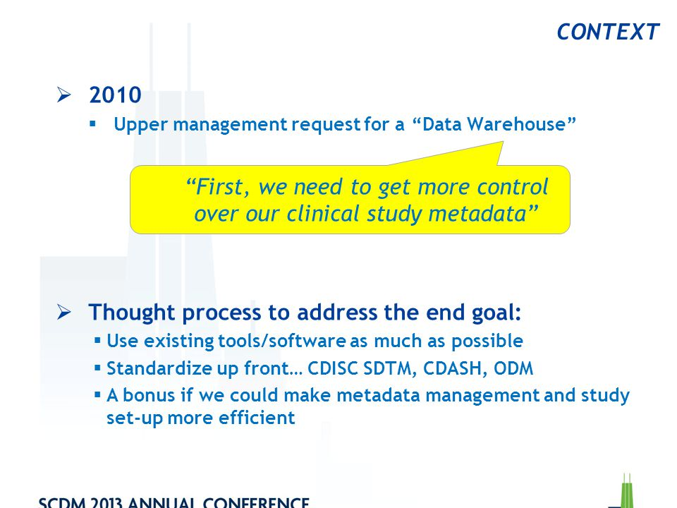 First, we need to get more control over our clinical study metadata