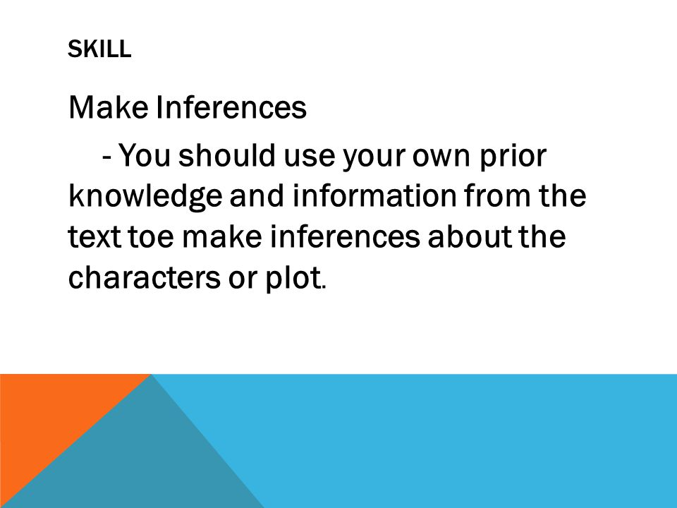 Skill Make Inferences - You should use your own prior knowledge and information from the text toe make inferences about the characters or plot.